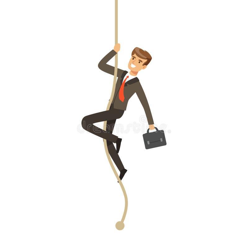 与攀登绳索的公文包的微笑的商人导航例证 向量例证