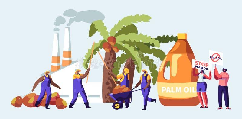 与收集果子,有散发烟,污染物气体的管子的加工厂的工作者的棕榈产石油的产业概念 向量例证