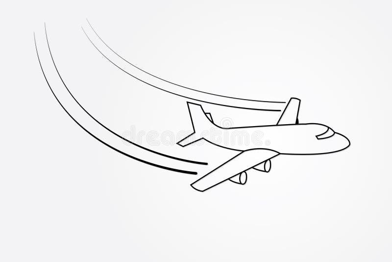 与改变的方向的飞机飞行使用在白色背景传染媒介例证的线运输产业的 库存例证