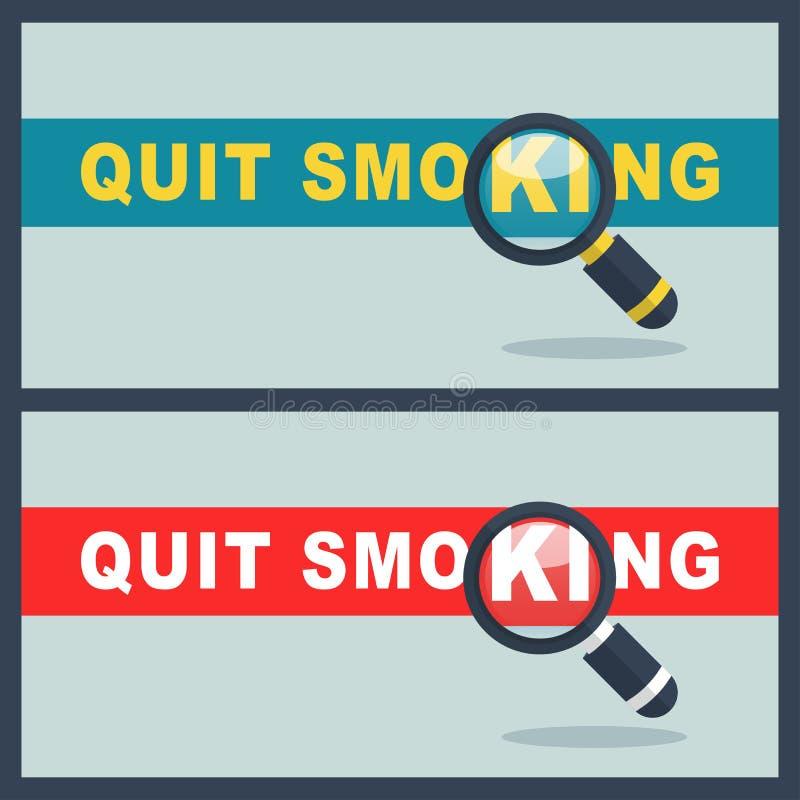 与放大器概念的Quit抽烟的词 库存例证