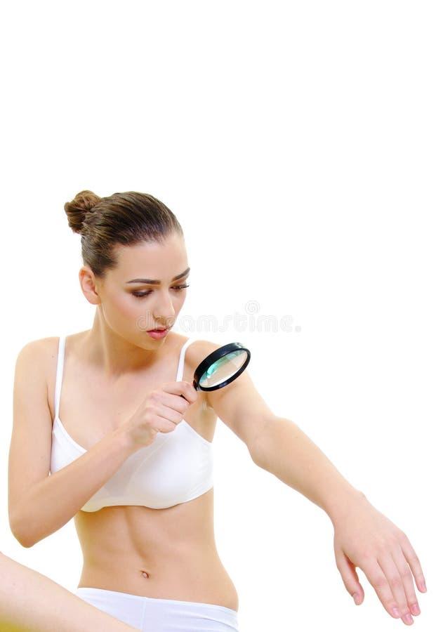 与放大器的美好的女孩身体护肤概念 图库摄影