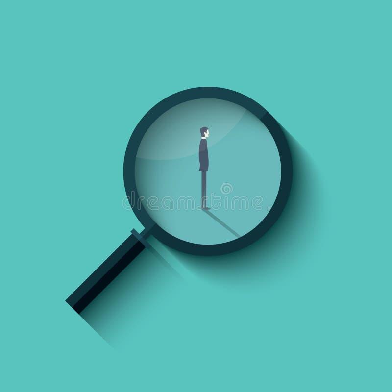 与放大镜和商人的补充传染媒介 聘用的企业标志 向量例证