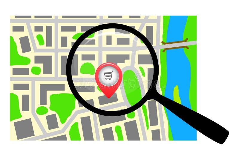 与放大镜的城市地图 库存例证