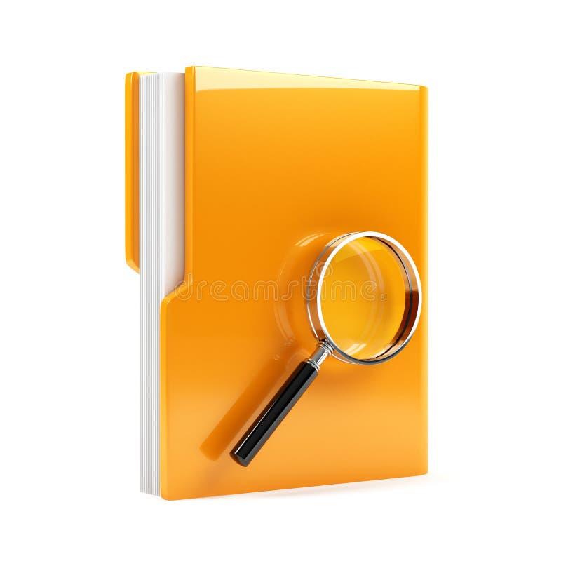 与放大镜的文件夹 皇族释放例证