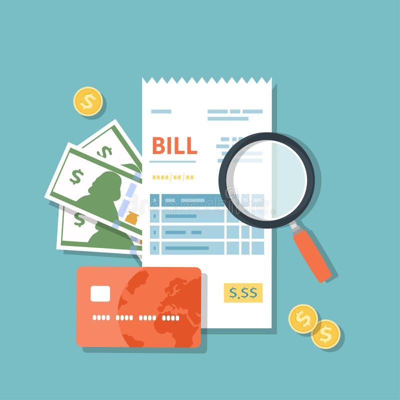 与放大镜的比尔象 学习支付收据 物品服务公共银行餐馆的付款 发货票,检查,bil 库存例证