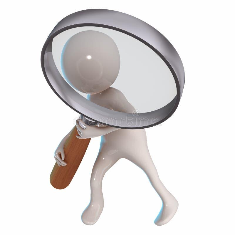 与放大镜的3D Stickman 库存例证