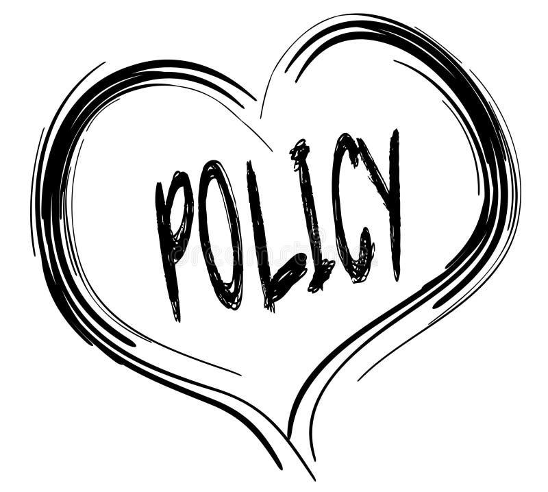 与政策文本的速写的黑心脏 库存例证