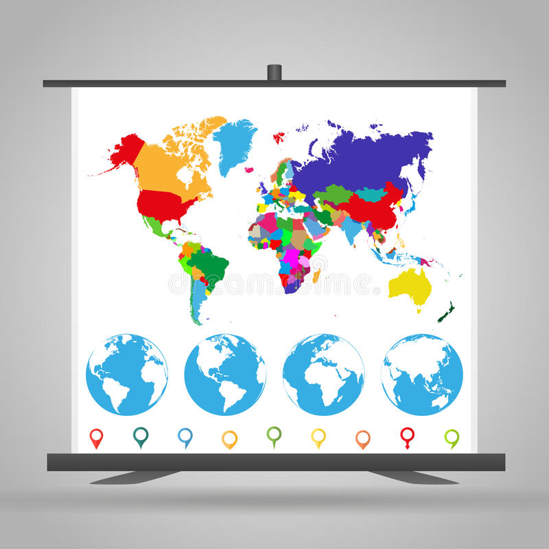 与政治世界地图、地球和标志的商业陈列立场 向量例证