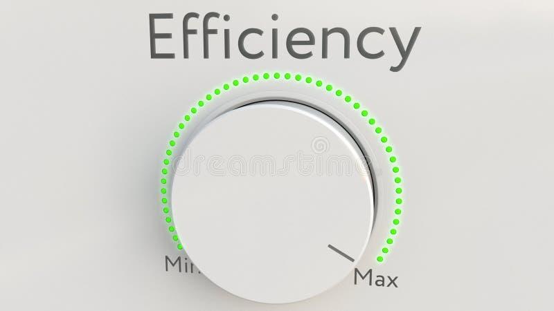 与效率题字的转动的白色高科技瘤从极小值到最大值 3d概念性翻译 向量例证