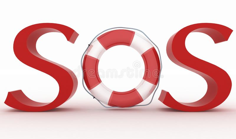 与救生带的红色文本SOS 库存例证