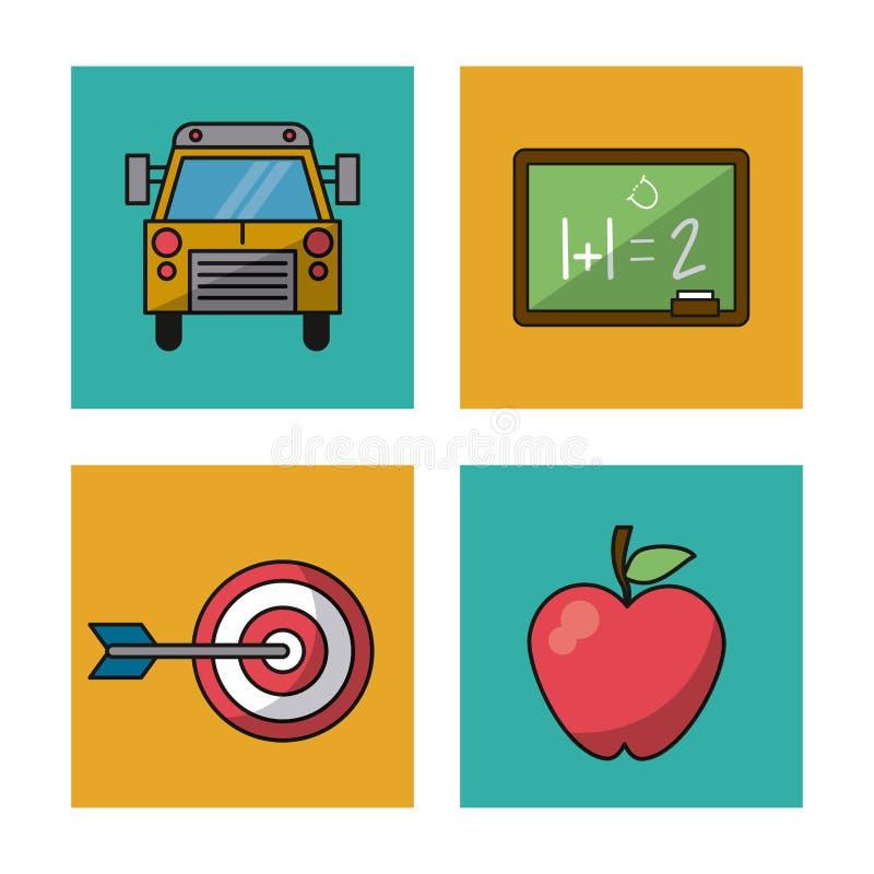 与教育象五颜六色的正方形的白色背景与公共汽车的和黑板和目标和苹果 皇族释放例证