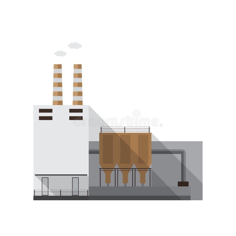 与散发气体的管子的工业工厂厂房隔绝在白色背景 制造场所或发电站  皇族释放例证