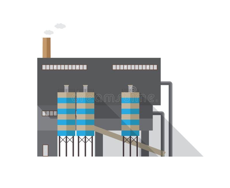 与散发蒸气的管子的现代工厂厂房隔绝在白色背景 热电站或制造业 库存例证