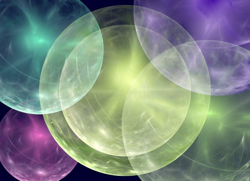 与数位被创造的抽象球形的抽象背景 数字式拼贴画 向量例证