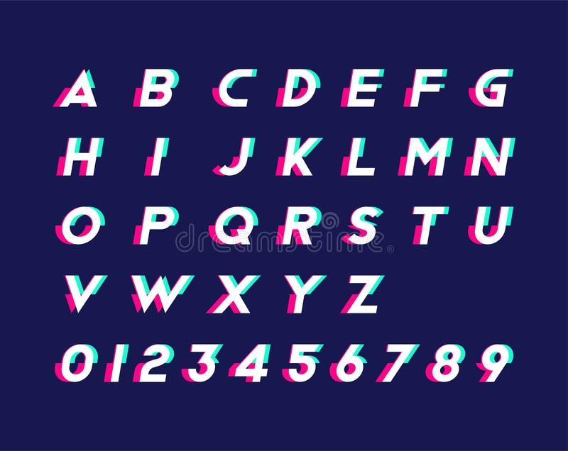 与数字和时髦小故障作用的字母表 平的例证Eps 10 向量例证