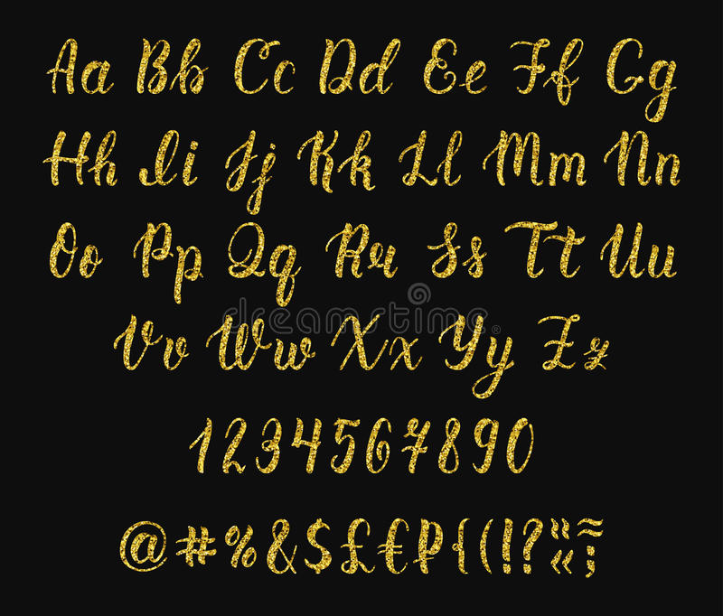 与数字和标志的手写的拉丁书法刷子剧本 金子闪烁字母表 向量 皇族释放例证