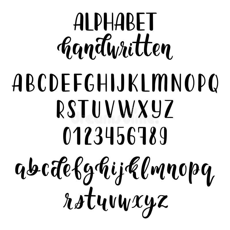 与数字和标志的手拉的拉丁书法刷子剧本 书法字母表 向量 库存例证