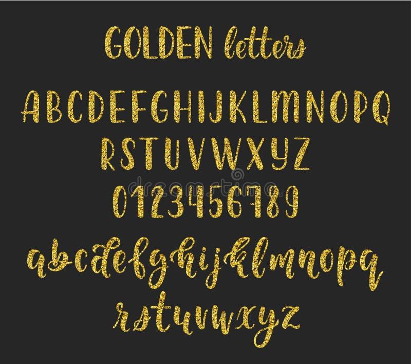 与数字和标志的金子闪烁手写的拉丁书法刷子剧本 向量 库存例证