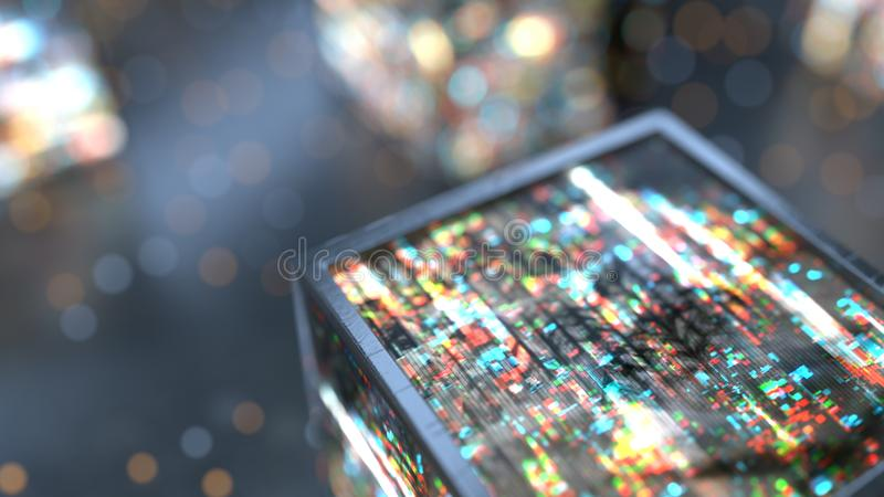 与数字噪声3D的立方体回报 向量例证