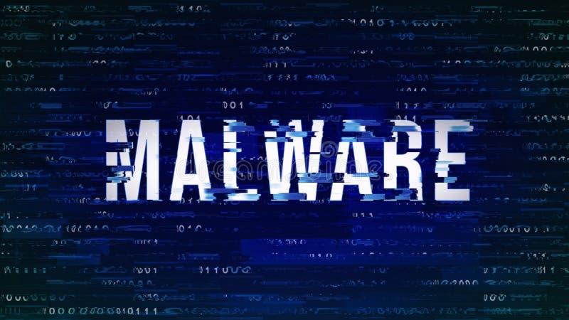 与数字式二进制编码的Malware - Glitched标题在深蓝 皇族释放例证