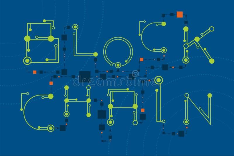 与数字式和电子字体风格的Blockchain概念 向量例证