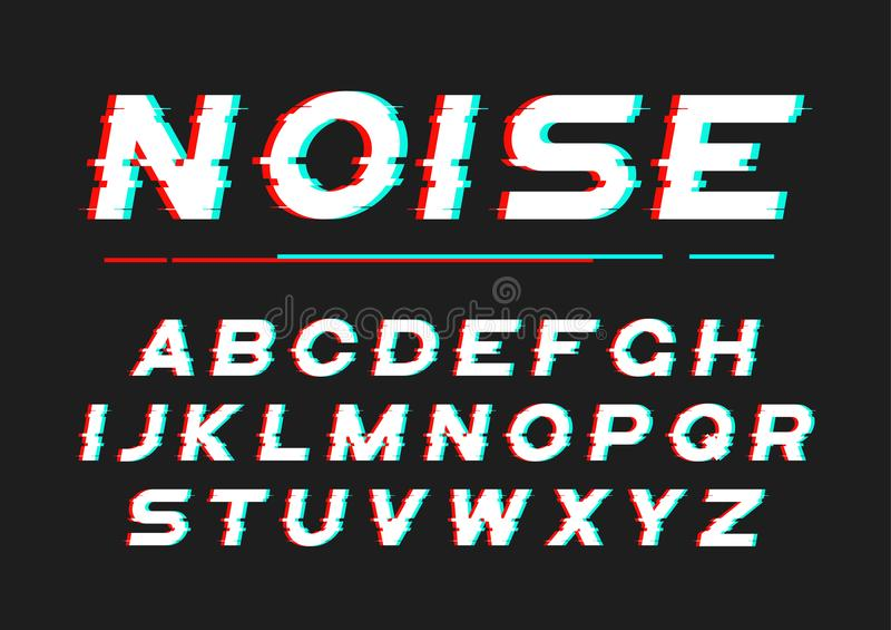 与数字式噪声,畸变,小故障effe的装饰大胆的字体 皇族释放例证