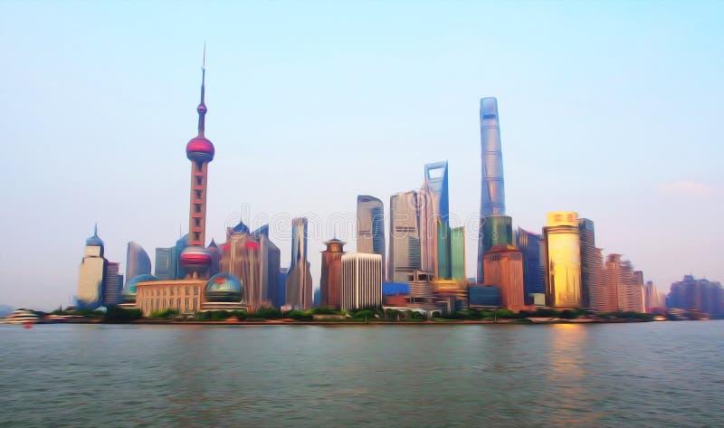 与数字式油画样式的上海金融中心 商代 皇族释放例证