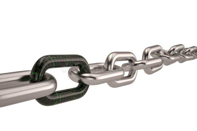与数字式链接的链子 3d例证 向量例证