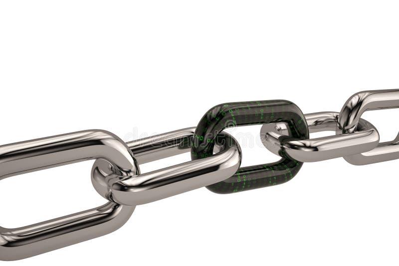 与数字式链接的链子 3d例证 库存例证