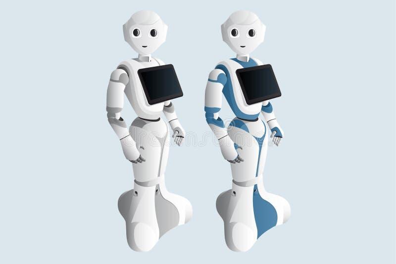 与数字片剂的现实机器人顾问 向量例证