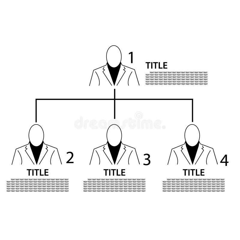 具有编号的业务层次结构 平面设计 人物图标 矢量 库存例证