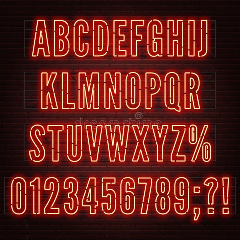 与数字的减速火箭的红色霓虹字母表在砖墙背景 库存例证