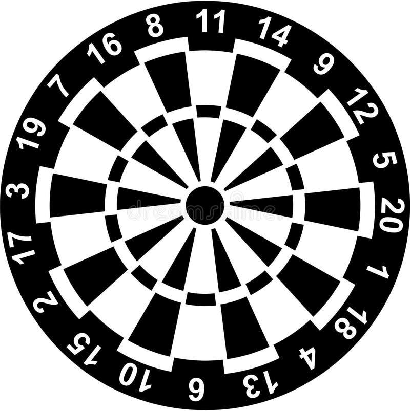 与数字的掷镖的圆靶 向量例证