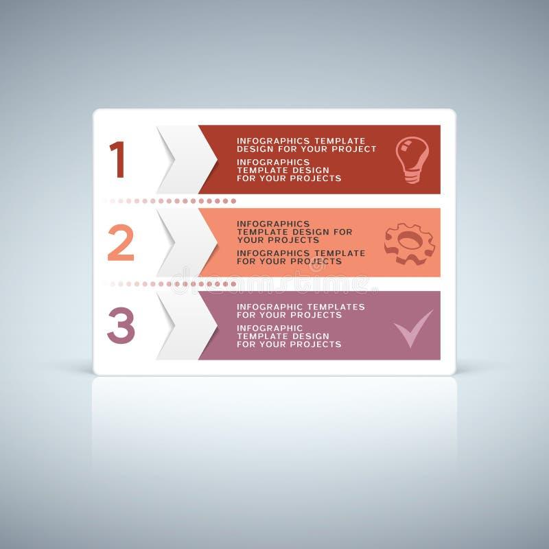 与数字的红色紫色信息图表选项设计 库存例证