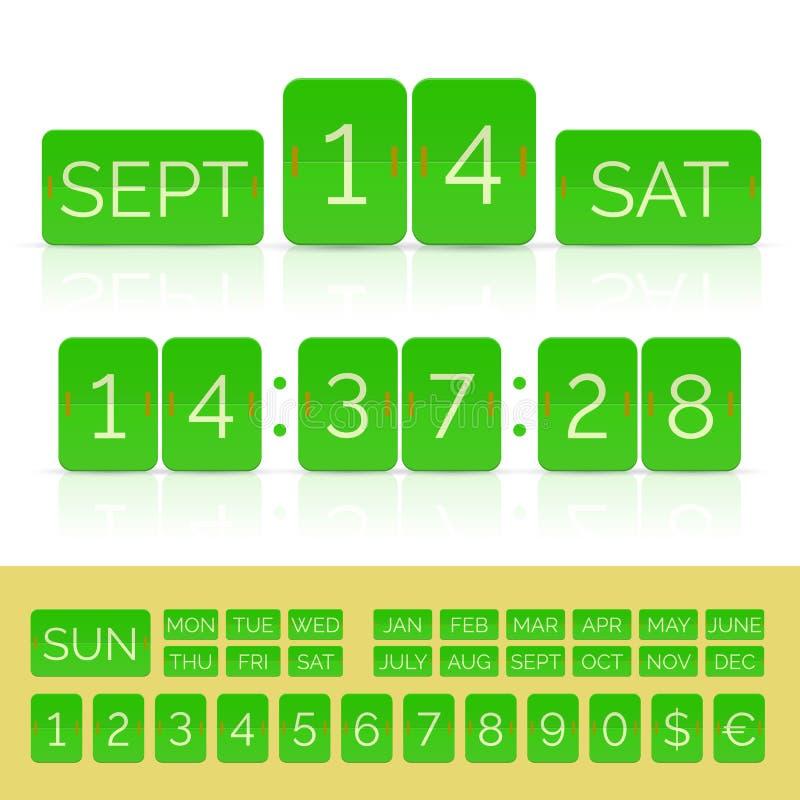 与数字的绿色平的读秒被隔绝的定时器和日历 皇族释放例证