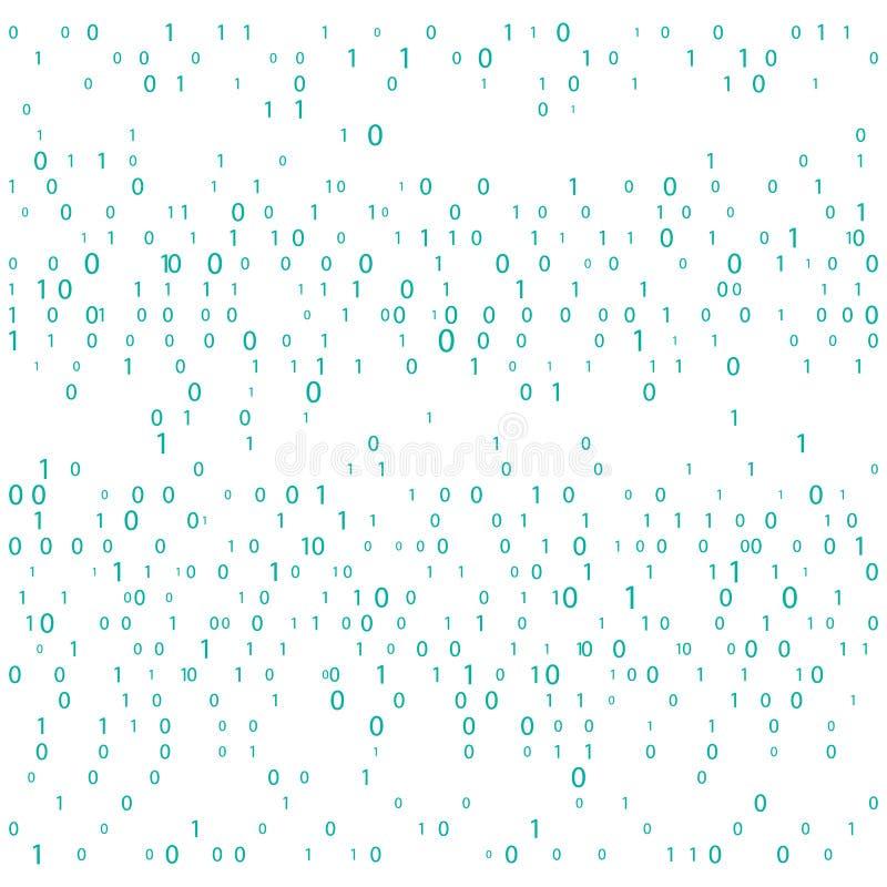 与数字的背景在屏幕上 二进制编码零一矩阵白色背景 横幅,样式,墙纸 抽象矩阵Backgr 皇族释放例证