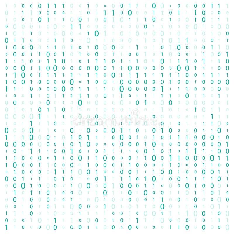 与数字的背景在屏幕上 二进制编码零一矩阵白色背景 横幅,样式,墙纸 抽象矩阵Backgr 向量例证