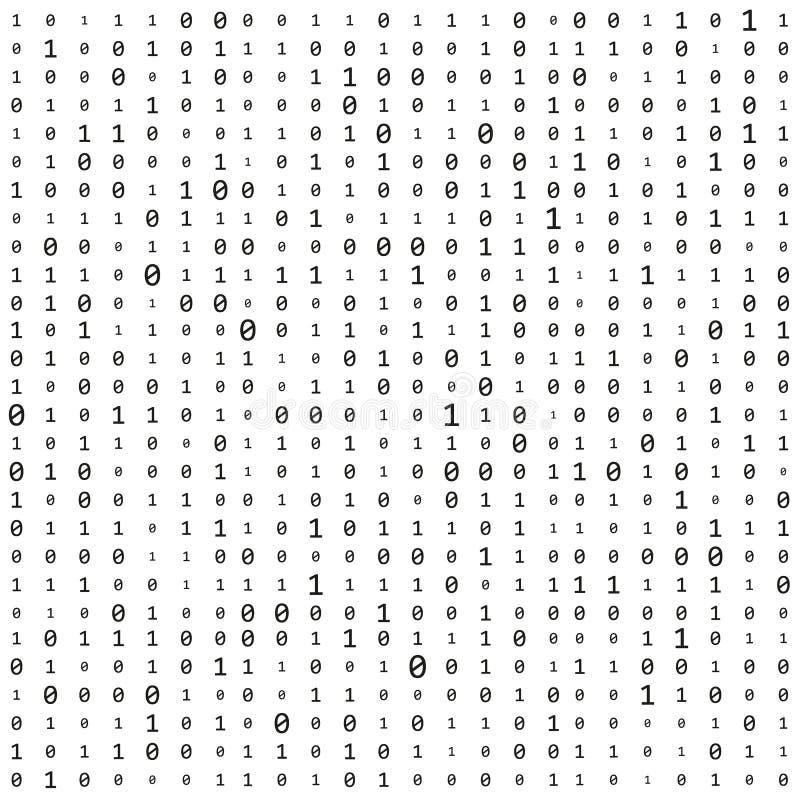 与数字的背景在屏幕上 二进制编码零一矩阵白色背景 横幅,样式,墙纸 摘要 皇族释放例证