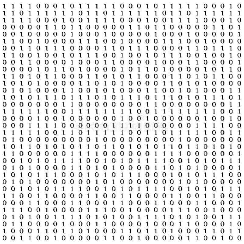 与数字的背景在屏幕上 二进制编码零一矩阵白色背景 横幅,样式,墙纸 摘要 向量例证