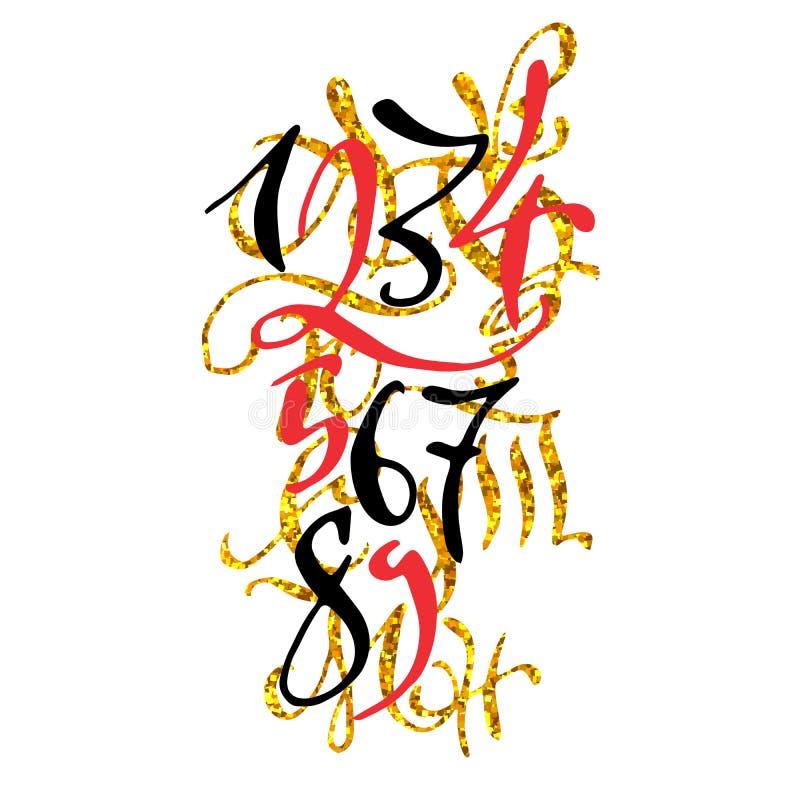 与数字的金黄手拉的优质书法海报 库存例证