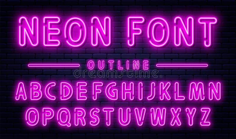 与数字的霓虹字母表 紫色霓虹字体,在砖墙背景,概述样式字体的日光灯 皇族释放例证