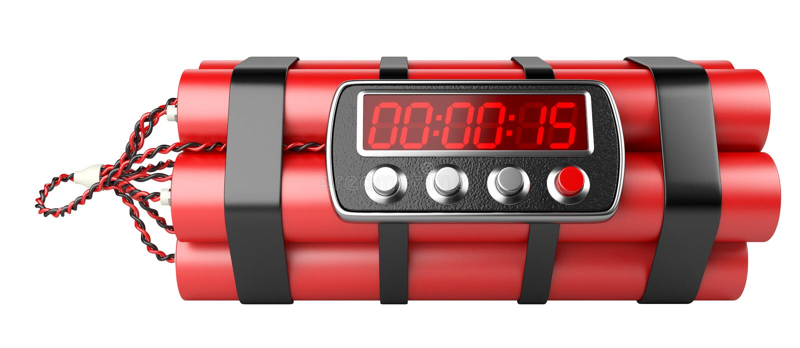 与数字钟定时器的炸弹 向量例证