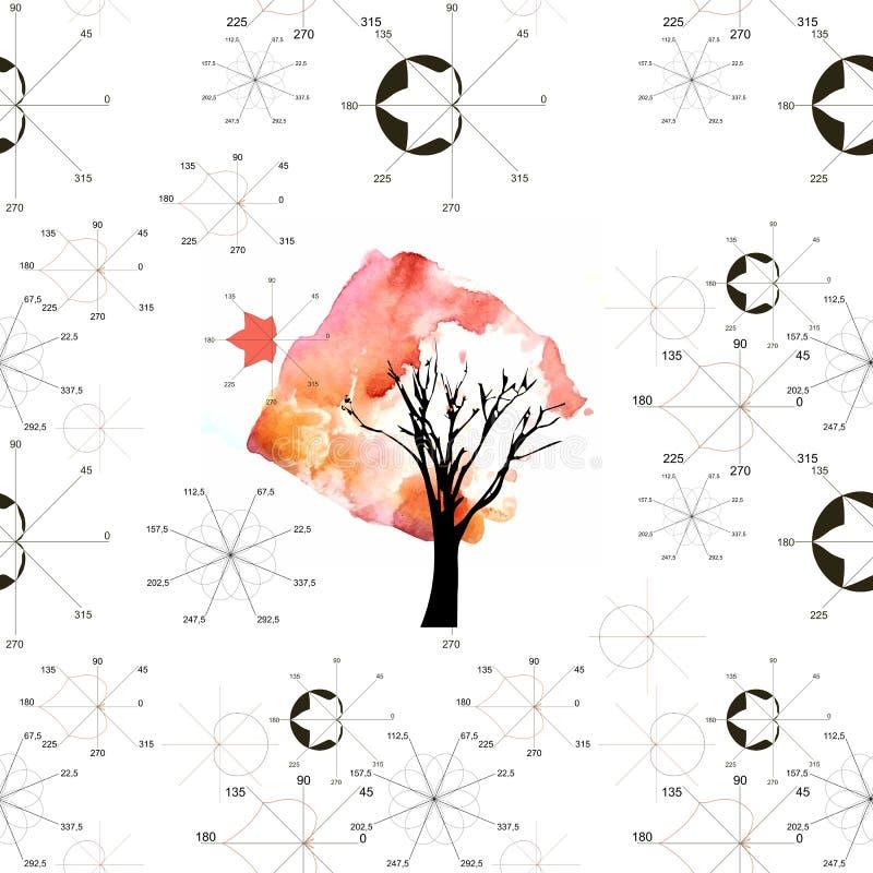 与数学剧情的无缝的样式在植物的对象形状,秋天枫叶树和图表在白色背景的 库存例证