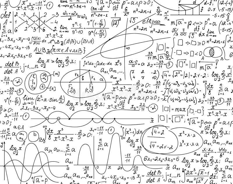 与数学和物理手写的惯例、等式和演算的教育算术传染媒介无缝的样式 库存例证