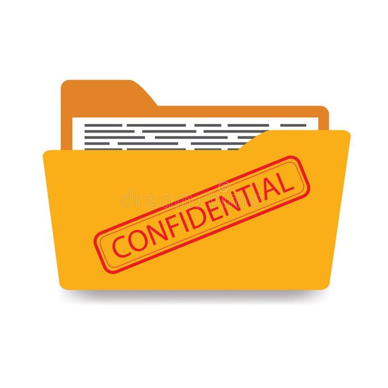 与文件的办公室文件夹,机要,隔绝在白色后面 皇族释放例证