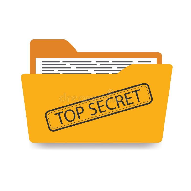 与文件的办公室文件夹,顶的秘密-题字 皇族释放例证