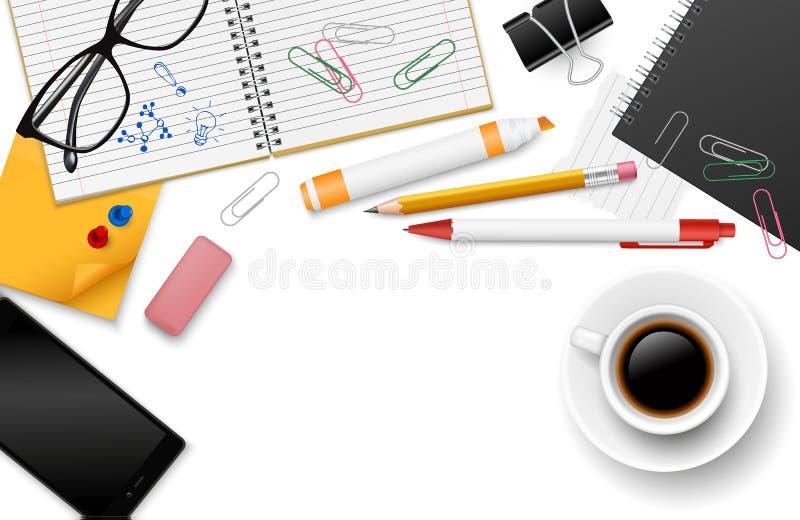 与文具供应、咖啡、智能手机和笔记本的传染媒介现实顶视图工作区有您的文本的空间的- 向量例证