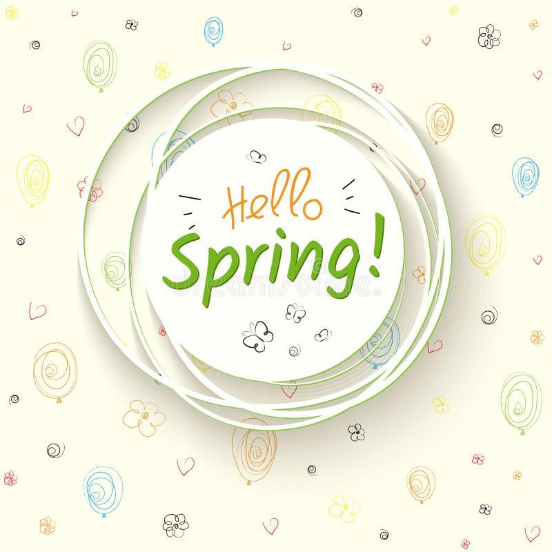 与文本你好春天和蝴蝶的白色横幅在花气球轻的背景成螺旋形心脏反弹欢乐 皇族释放例证