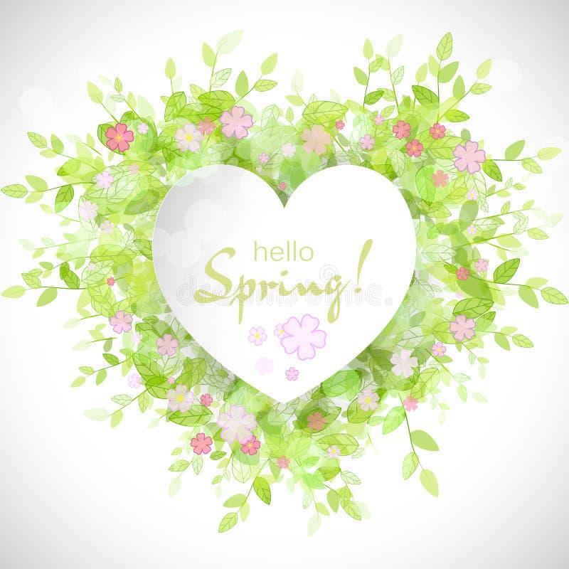 与文本你好春天的白色心脏框架 向量例证