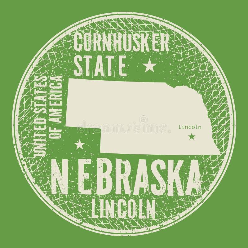 与文本内布拉斯加,林肯的难看的东西葡萄酒圆的邮票 向量例证